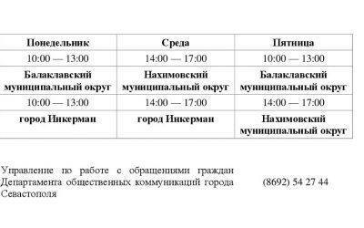 График работы общественных приемных Правительства в муниципальных округах города Севастополя
